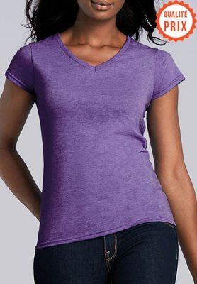 T-shirt classique femme col V - Mon-BDE
